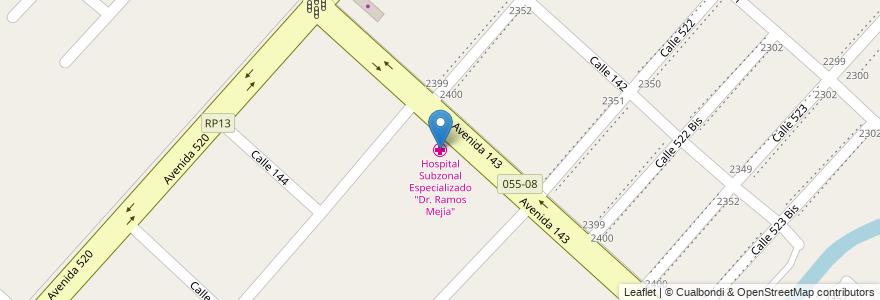 """Mapa de ubicacion de Hospital Subzonal Especializado """"Dr. Ramos Mejía"""", San Carlos en San Carlos, Partido De La Plata, Buenos Aires, Argentina."""