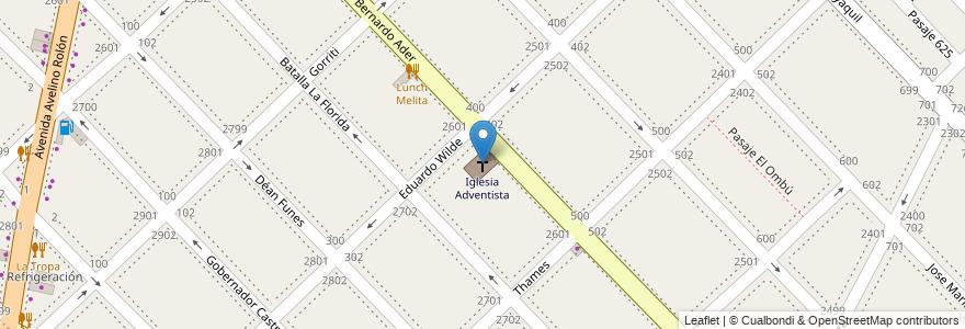 Mapa de ubicacion de Iglesia Adventista en Boulogne Sur Mer, Partido De San Isidro, Buenos Aires, Argentina.