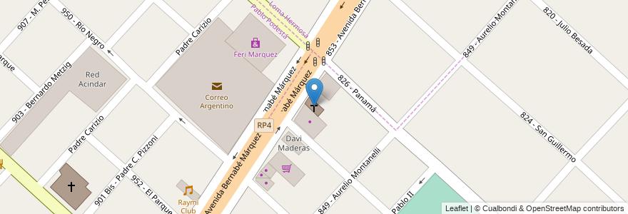 Mapa de ubicacion de Iglesia Cristiana Evangelica en Partido De Tres De Febrero, Buenos Aires, Argentina.