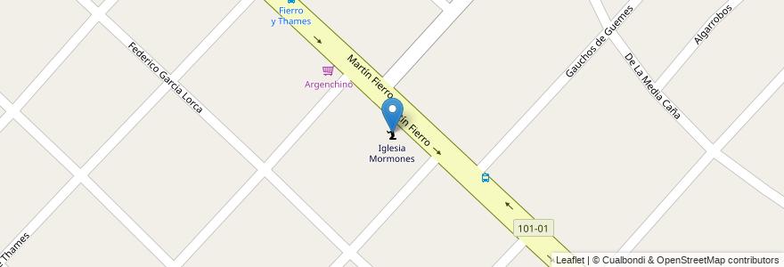 Mapa de ubicacion de Iglesia Mormones en Argentina, Buenos Aires, Partido De Ituzaingó, Villa Udaondo.