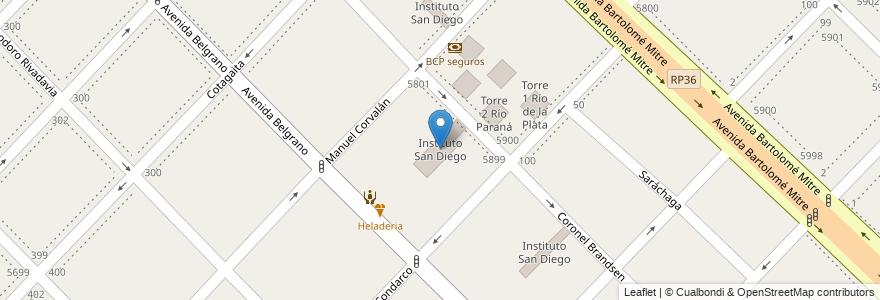 Mapa de ubicacion de Instituto San Diego en Argentina, Buenos Aires, Partido De Avellaneda, Wilde.