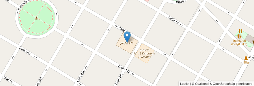 Mapa de ubicacion de Jardin 911, City Bell en Argentina, Buenos Aires, Partido De La Plata, City Bell.