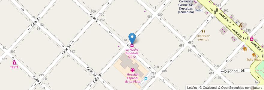Mapa de ubicacion de La Nueva Española S.C.S., Casco Urbano en Argentina, Buenos Aires, Partido De La Plata.