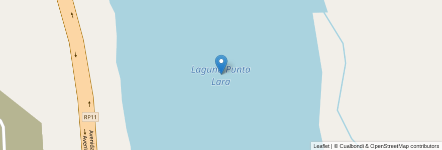 Mapa de ubicacion de Laguna Punta Lara en Argentina, Buenos Aires, Partido De Ensenada.