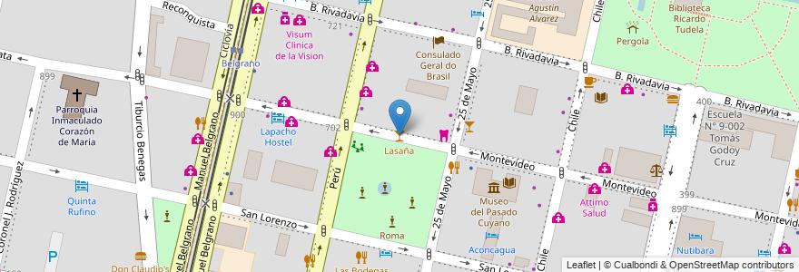 Mapa de ubicacion de Lasaña en Argentina, Chile, Mendoza, Departamento Capital, Sección 2ª Barrio Cívico, Ciudad De Mendoza.