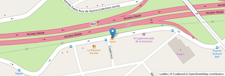 Mapa de ubicacion de Lena en Argentina, Buenos Aires, Partido De Moreno, Moreno.