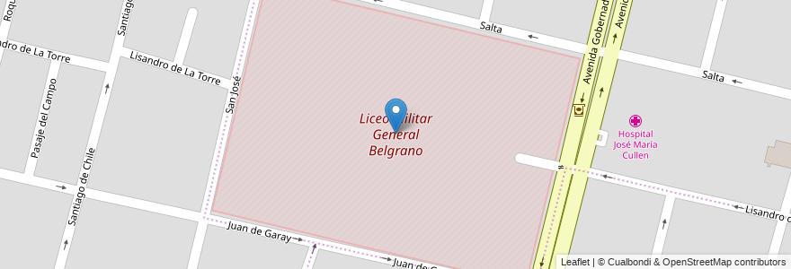 Mapa de ubicacion de Liceo Militar General Belgrano en Argentina, Santa Fe, Departamento La Capital, Santa Fe Capital, Santa Fe.