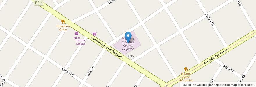 Mapa de ubicacion de Maderera Industrial General Belgrano en Buenos Aires, Argentina.