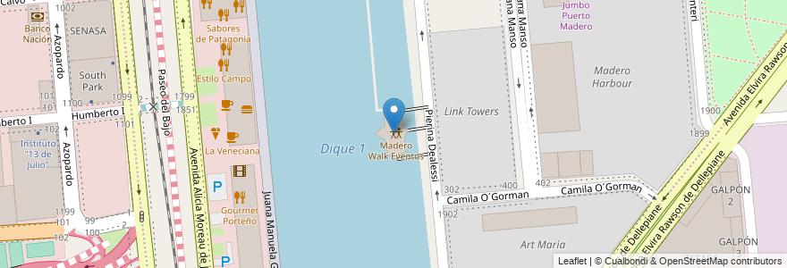Mapa de ubicacion de Madero Walk Eventos, Puerto Madero en Argentina, Ciudad Autónoma De Buenos Aires, Comuna 1, Buenos Aires.