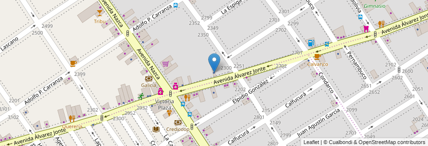 Mapa de ubicacion de Martinez Licari Propiedades, Villa del Parque en Argentina, Ciudad Autónoma De Buenos Aires, Buenos Aires, Comuna 11.