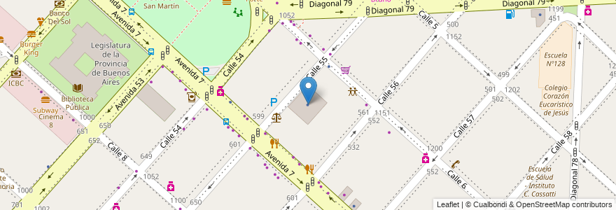 Mapa de ubicacion de Ministerio de Desarrollo Social de la Provincia de Buenos Aires, Casco Urbano en La Plata, Partido De La Plata, Buenos Aires, Argentina.