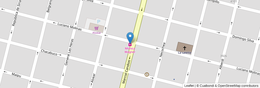 Mapa de ubicacion de Monica Wagner en Santa Fe, Santa Fe Capital, Departamento La Capital, Santa Fe, Argentina.