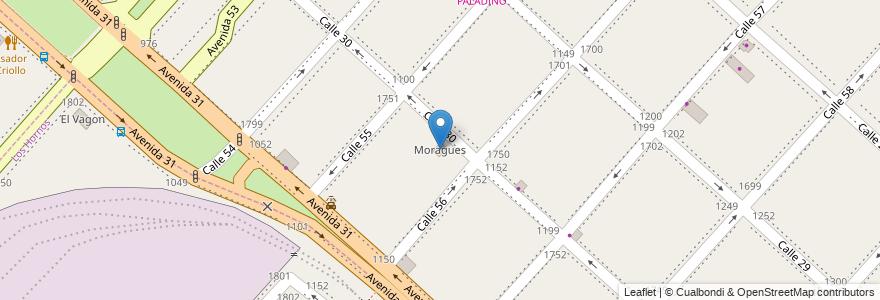 Mapa de ubicacion de Moragues, Casco Urbano en La Plata, Partido De La Plata, Buenos Aires, Argentina.