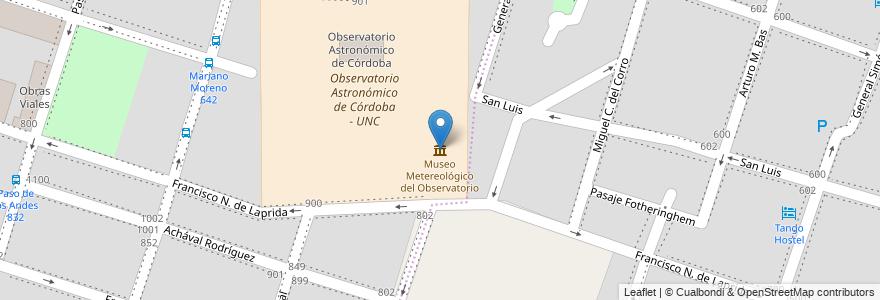 Mapa de ubicacion de Museo Metereológico del Observatorio en Córdoba, Municipio De Córdoba, Pedanía Capital, Departamento Capital, Córdoba, Argentina.