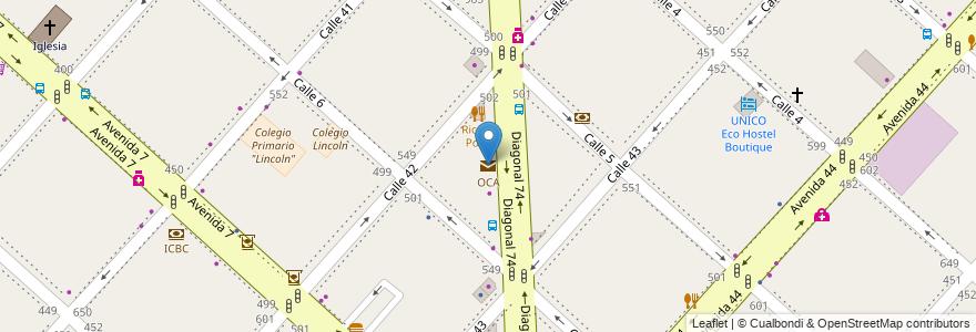 Mapa de ubicacion de OCA, Casco Urbano en La Plata, Partido De La Plata, Buenos Aires, Argentina.