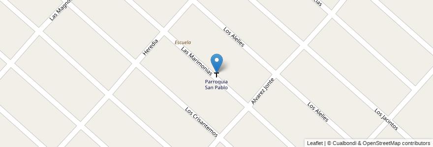 Mapa de ubicacion de Parroquia San Pablo en Argentina, Buenos Aires, Partido De Merlo, Mariano Acosta.