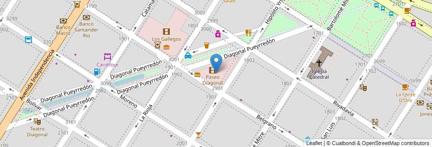 Mapa de ubicacion de Paseo Diagonal en Mar Del Plata, Partido De General Pueyrredón, Buenos Aires, Argentina.