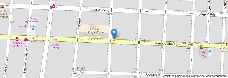 Mapa de ubicacion de Pedro Navajas en Argentina, Chile, Mendoza, Departamento Guaymallén, Distrito San José.
