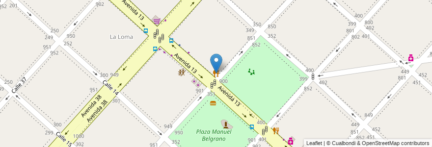 Mapa de ubicacion de Pizzas Justo José, Casco Urbano en Argentina, Buenos Aires, Partido De La Plata, La Plata.