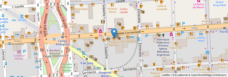 Mapa de ubicacion de Pizzeria Genova, San Nicolas en Argentina, Ciudad Autónoma De Buenos Aires, Comuna 1, Buenos Aires.