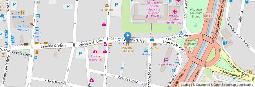 Mapa de ubicacion de Pizzeria Sebastian en Argentina, Chile, Mendoza, Departamento Capital, Ciudad De Mendoza, Sección 3ª Parque O'Higgins.