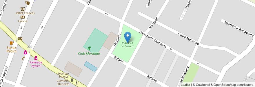 Mapa de ubicacion de Plaza 24 de Febrero en Argentina, Chile, Mendoza, Departamento Guaymallén, Distrito Villa Nueva.