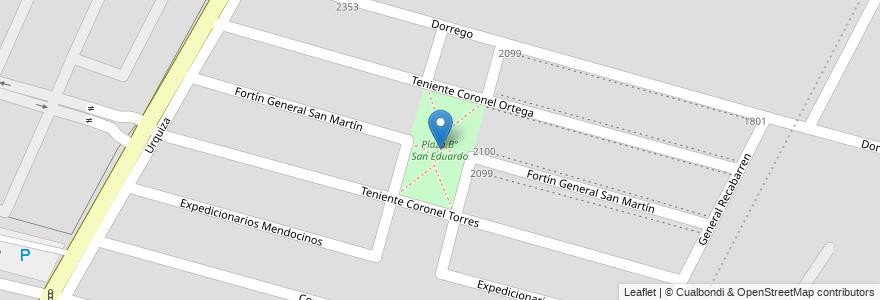 Mapa de ubicacion de Plaza B° San Eduardo en Argentina, Chile, Mendoza, Departamento Maipú, Distrito Luzuriaga, Maipú.