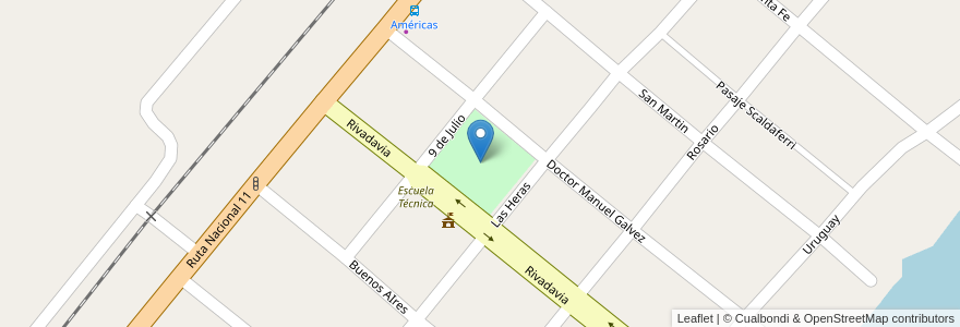 Mapa de ubicacion de Plaza Bernardino Rivadavia en Argentina, Santa Fe, Departamento La Capital, Municipio De Sauce Viejo.