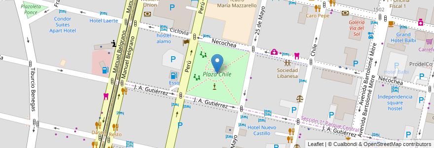 Mapa de ubicacion de Plaza Chile en Argentina, Chile, Mendoza, Departamento Capital, Ciudad De Mendoza.