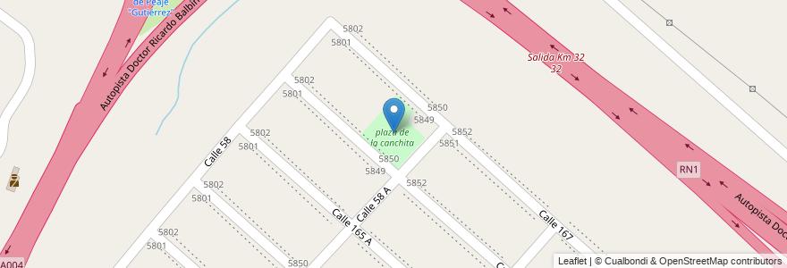 Mapa de ubicacion de plaza de la canchita en Argentina, Buenos Aires, Partido De Berazategui, Hudson.
