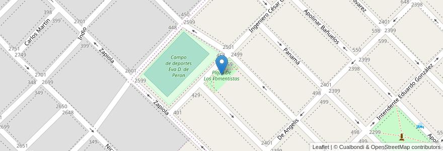Mapa de ubicacion de Plaza De Los Fomentistas en Bahía Blanca, Partido De Bahía Blanca, Buenos Aires, Argentina.