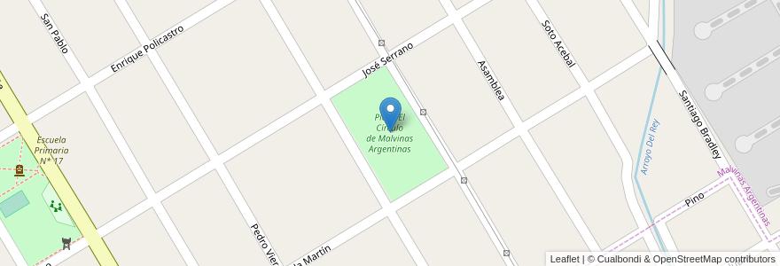 Mapa de ubicacion de Plaza El Círculo de Malvinas Argentinas en Argentina, Buenos Aires, Partido De Almirante Brown, Malvinas Argentinas.
