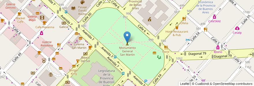 Mapa de ubicacion de Plaza General José de San Martín, Casco Urbano en La Plata, Partido De La Plata, Buenos Aires, Argentina.