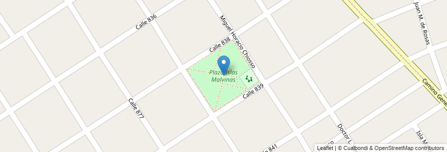 Mapa de ubicacion de Plaza Islas Malvinas en Argentina, Buenos Aires, Partido De Quilmes, Villa La Florida.