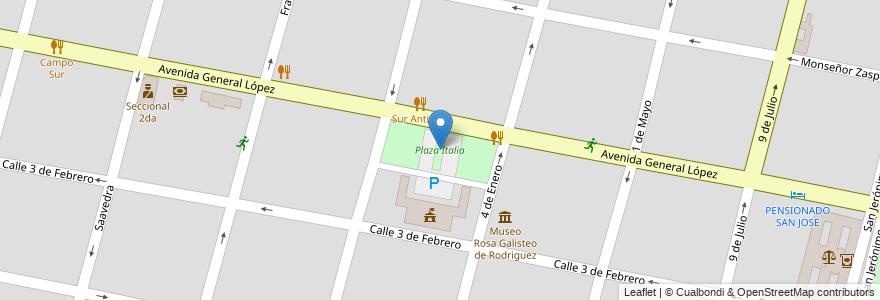 Mapa de ubicacion de Plaza Italia en Argentina, Santa Fe, Departamento La Capital, Santa Fe Capital, Santa Fe.