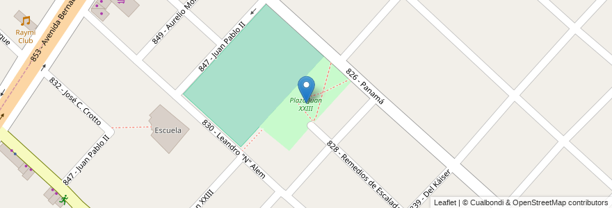 Mapa de ubicacion de Plaza Juan XXIII en Argentina, Buenos Aires, Partido De Tres De Febrero, Martín Coronado.