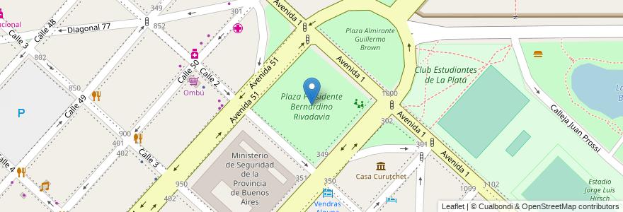 Mapa de ubicacion de Plaza Presidente Bernardino Rivadavia, Casco Urbano en La Plata, Partido De La Plata, Buenos Aires, Argentina.