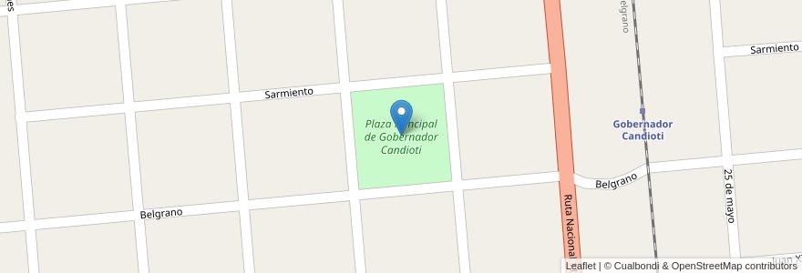 Mapa de ubicacion de Plaza Principal de Gobernador Candioti en Argentina, Santa Fe, Departamento La Capital, Municipio De Candioti, Gobernador Candioti.