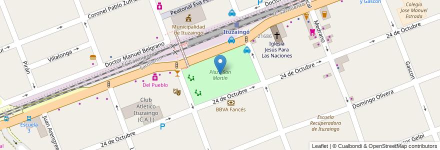 Mapa de ubicacion de Plaza San Martín en Argentina, Buenos Aires, Partido De Ituzaingó, Ituzaingó.