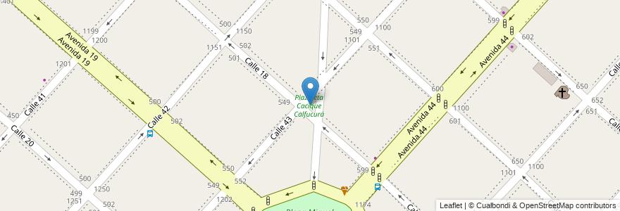 Mapa de ubicacion de Plazoleta Cacique Calfucurá, Casco Urbano en La Plata, Partido De La Plata, Buenos Aires, Argentina.
