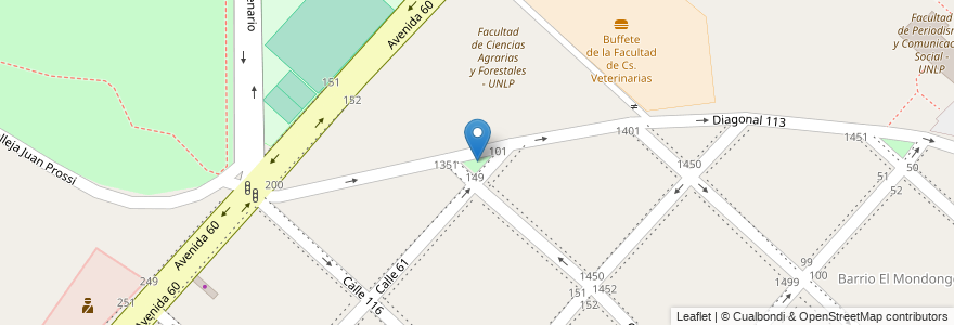 Mapa de ubicacion de Plazoleta Ingeniero Agrónomo Juan Ramón de la Llosa, Casco Urbano en La Plata, Partido De La Plata, Buenos Aires, Argentina.