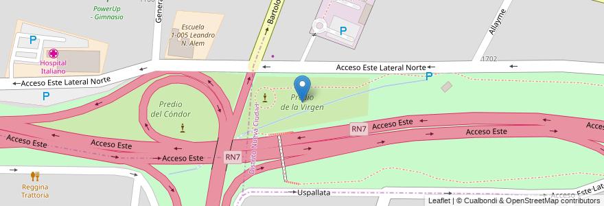 Mapa de ubicacion de Predio de la Virgen en Argentina, Chile, Mendoza, Departamento Guaymallén.