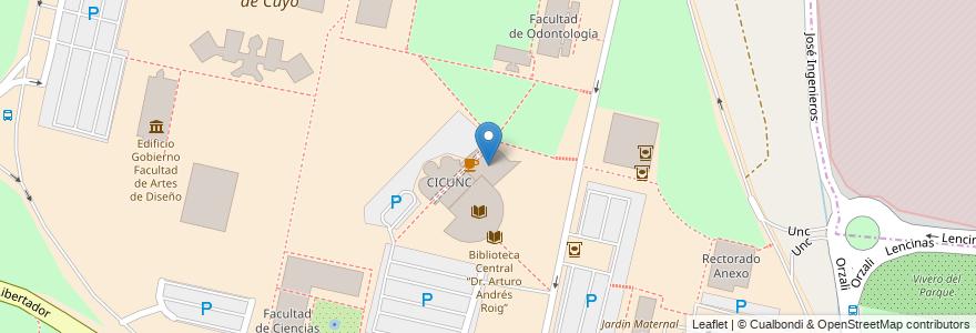 Mapa de ubicacion de Rectorado principal en Argentina, Chile, Mendoza, Departamento Capital, Ciudad De Mendoza.