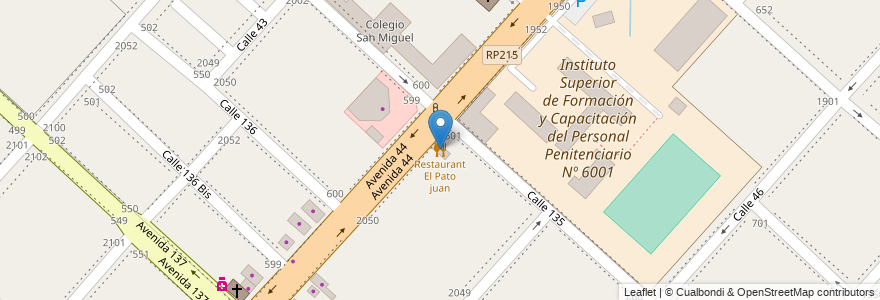 Mapa de ubicacion de Restaurant El Pato juan, San Carlos en Argentina, Buenos Aires, Partido De La Plata, San Carlos.