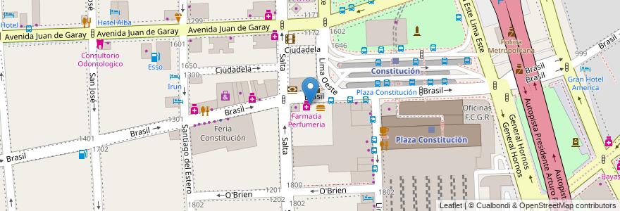 Mapa de ubicacion de Restaurantes Sol, Constitucion en Argentina, Ciudad Autónoma De Buenos Aires, Comuna 1, Comuna 4, Buenos Aires.