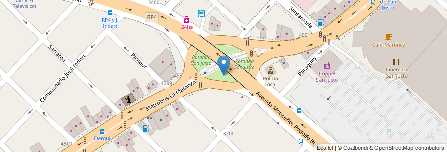 Mapa de ubicacion de Rotonda San Justo en Argentina, Buenos Aires, Partido De La Matanza, San Justo.