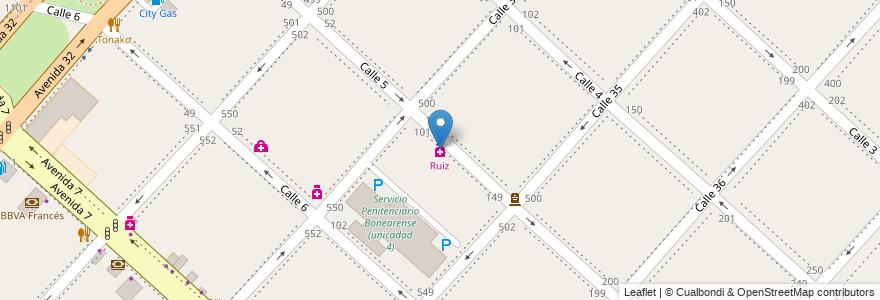 Mapa de ubicacion de Ruiz, Casco Urbano en Partido De La Plata, Buenos Aires, Argentina.