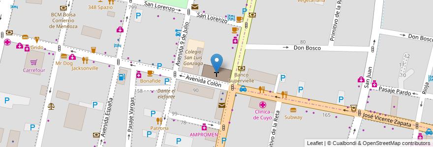 Mapa de ubicacion de Sagrado Corazón (Jesuitas) en Argentina, Chile, Mendoza, Departamento Capital, Sección 2ª Barrio Cívico, Ciudad De Mendoza.