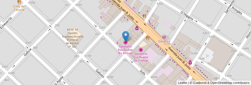 Mapa de ubicacion de Sanatorio Eva Duarte (Ex Emhsa) en Mar Del Plata, Partido De General Pueyrredón, Buenos Aires, Argentina.