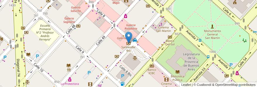 Mapa de ubicacion de Santander Rio, Casco Urbano en La Plata, Partido De La Plata, Buenos Aires, Argentina.